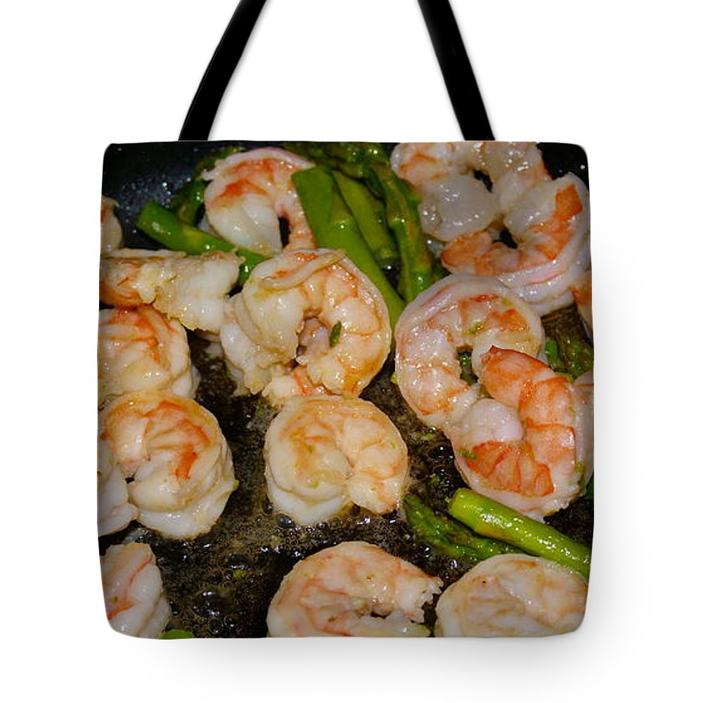 Food Tote Bag featuring the photograph Shrimp And Asparagus by Ben Upham III