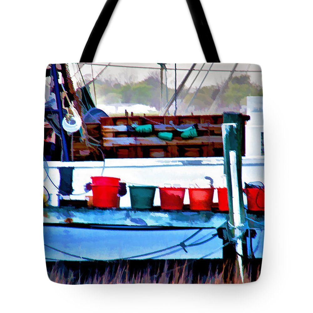 Shrimp Boat Tote Bag featuring the photograph Shrimp Boat Buckets by Sharon M Connolly