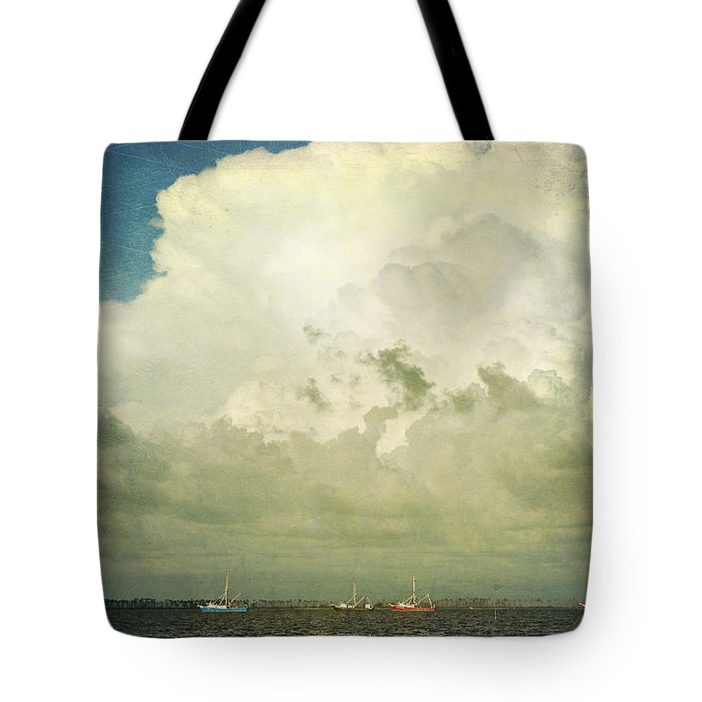 Shrimp Boats Tote Bag featuring the photograph Shrimp Boats Headed Out by Joan McCool
