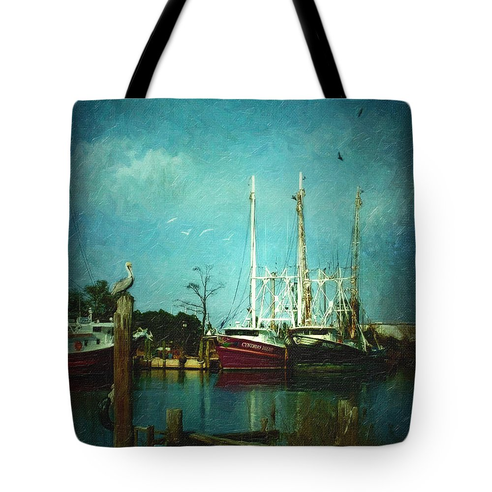 Shrimp-boats Tote Bag featuring the digital art Shrimp Boats Is A Comin by Lianne Schneider