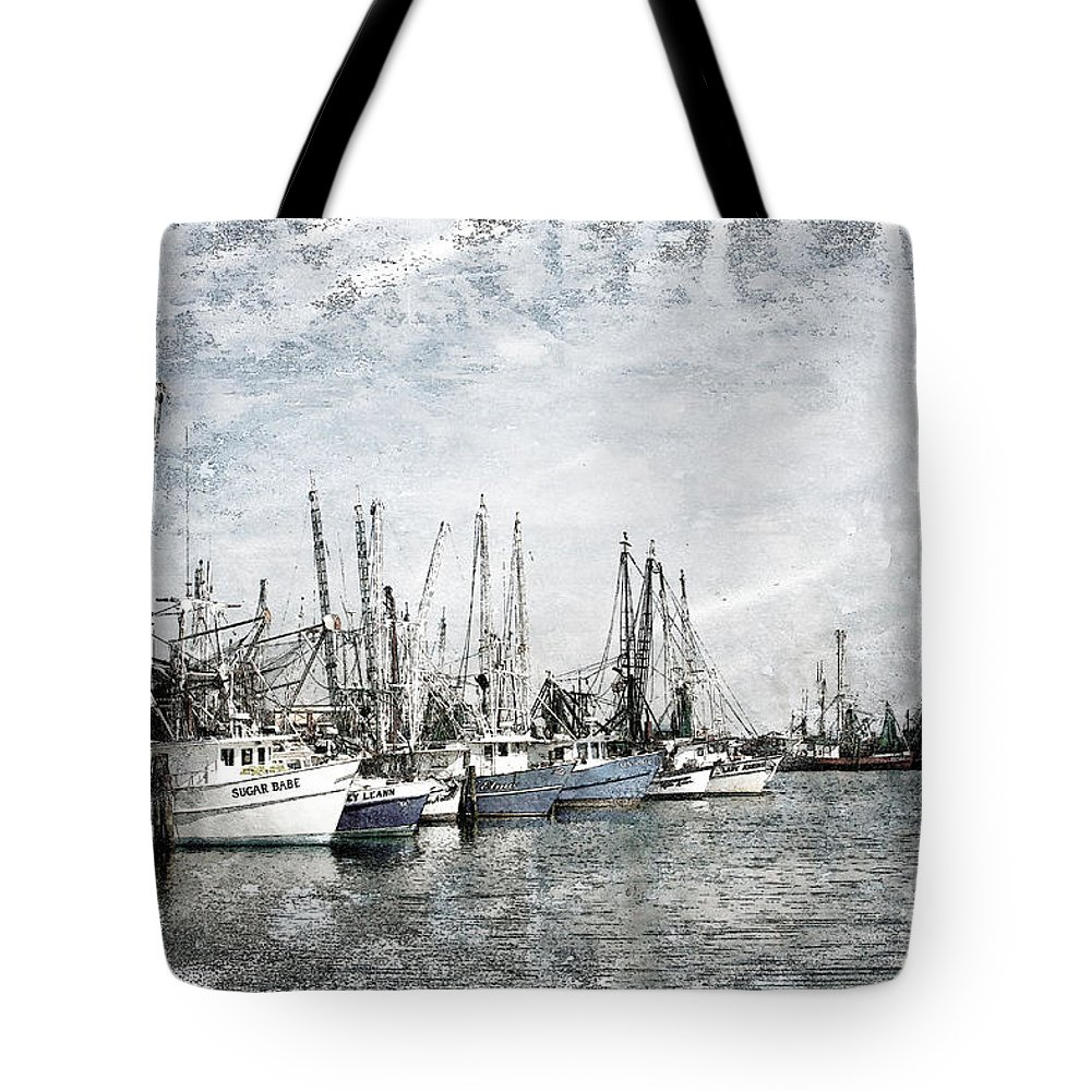 Boats Tote Bag featuring the photograph Shrimp Boats Sketch Photo by Joan McCool