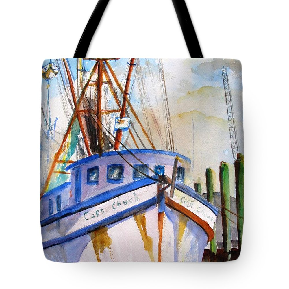 Boat Tote Bag featuring the painting Shrimp Fishing Boat by Carlin Blahnik CarlinArtWatercolor