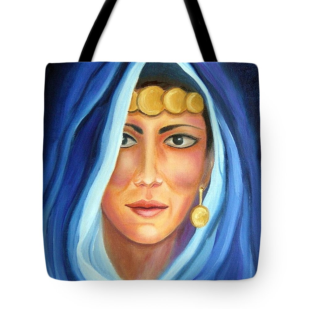 Gypsy Woman Tote Bag featuring the painting Shroud Of Mysticism by Lora Duguay