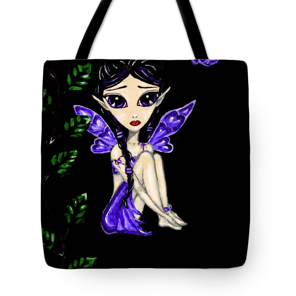 Fairy Tote Bag featuring the painting Shy Violet Fairy by Bronwen Skye