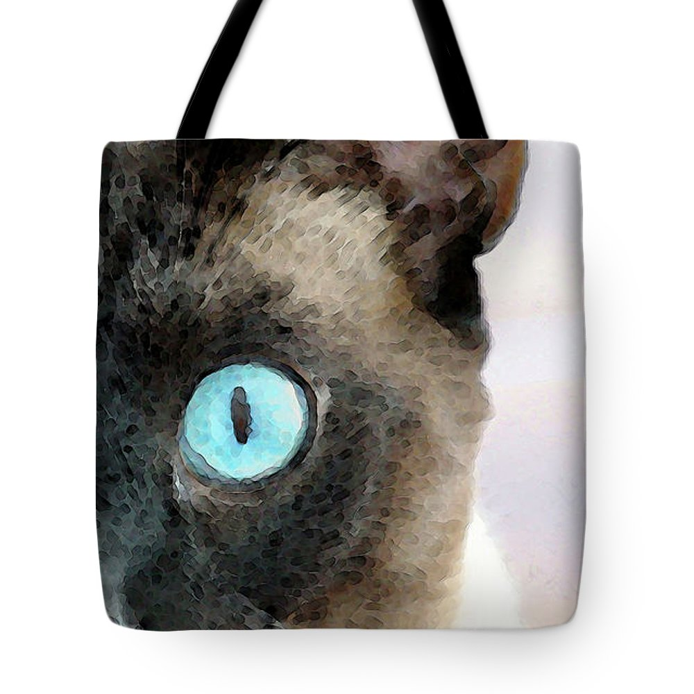 Siamese Tote Bag featuring the painting Siamese Cat Art - Half The Story by Sharon Cummings