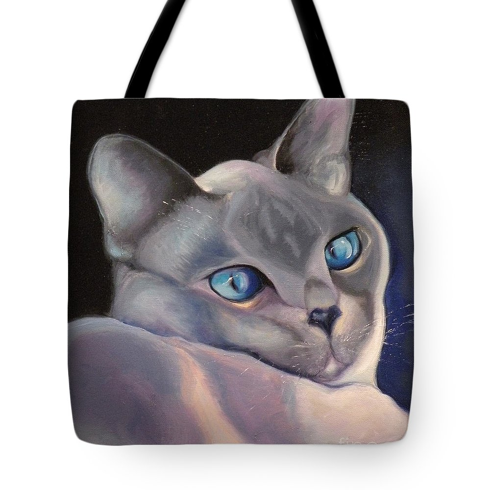 Cat Siamese Greeting Card Tote Bag featuring the painting Siamese In Blue by Susan A Becker