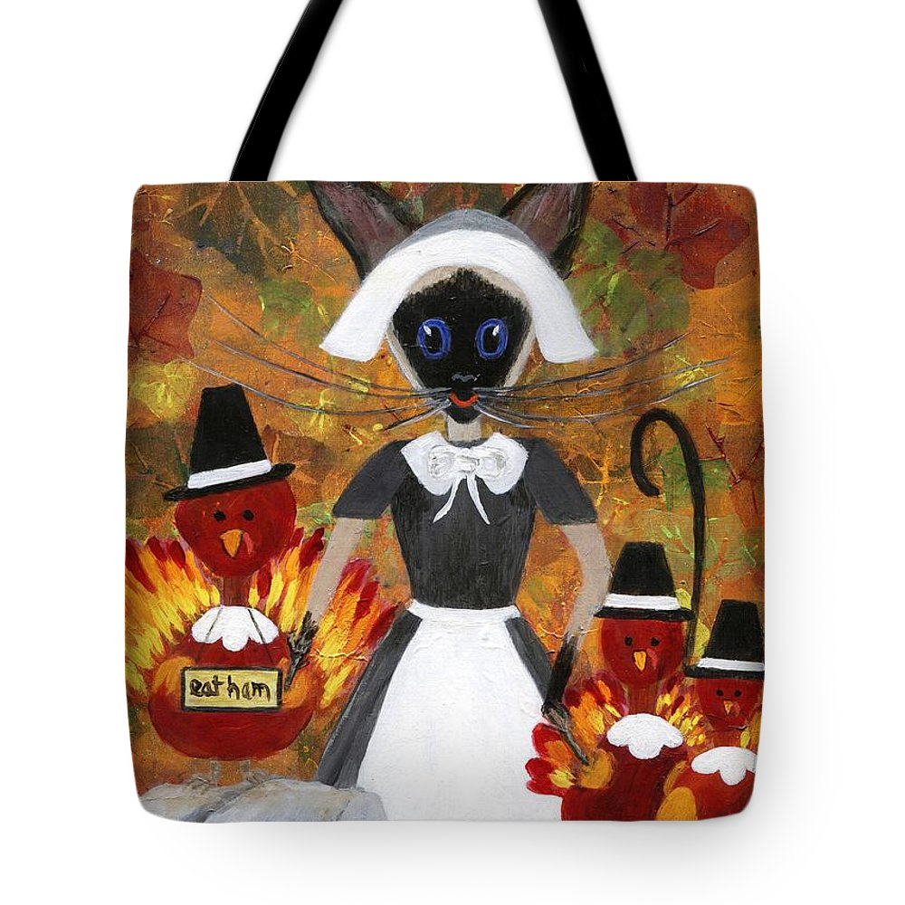 Siamese Tote Bag featuring the painting Siamese Queen Of Thanksgiving by Jamie Frier