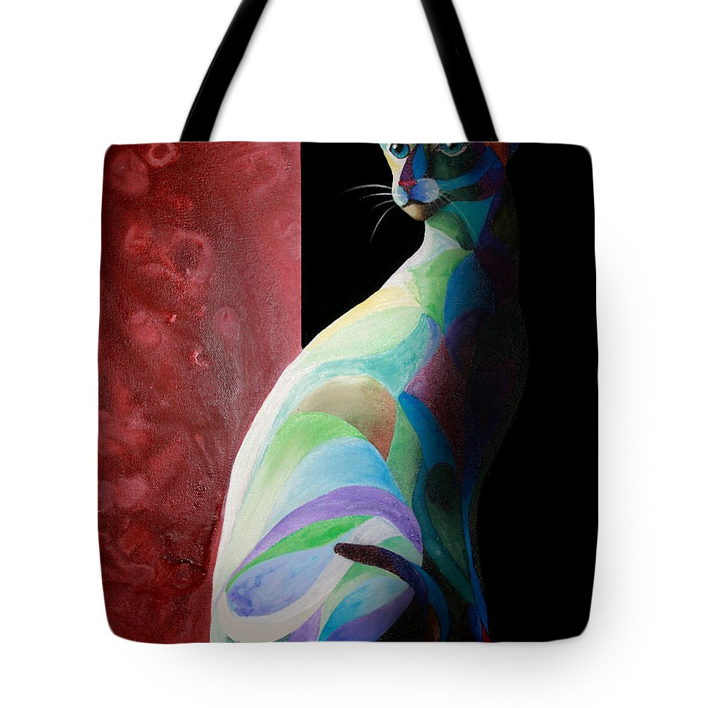 Siamese Tote Bag featuring the painting Siamese Shadow 2 by Sherry Shipley