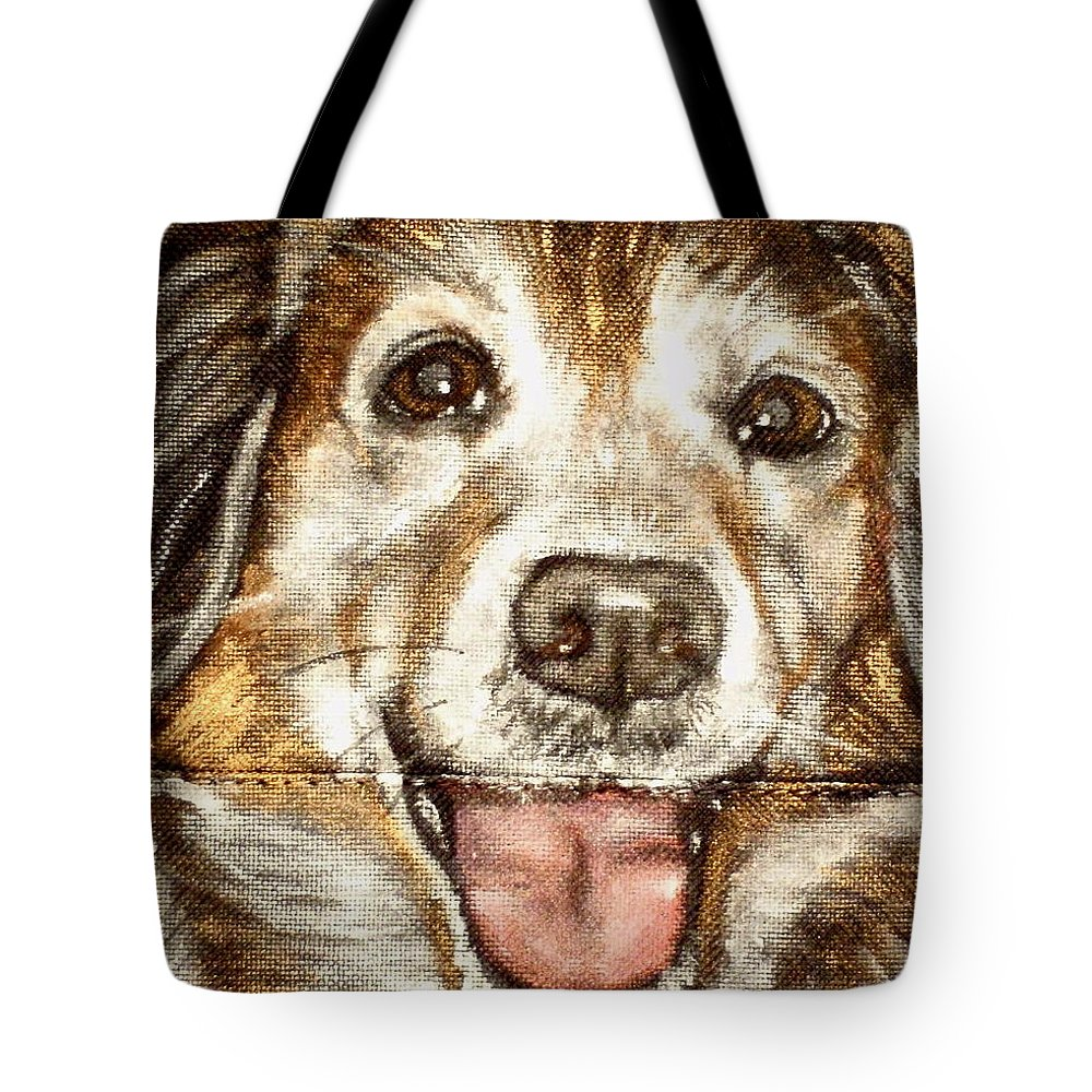 Close Up Of Panting Dog Mixed Breed Tote Bag featuring the painting Sibby by Carol Russell