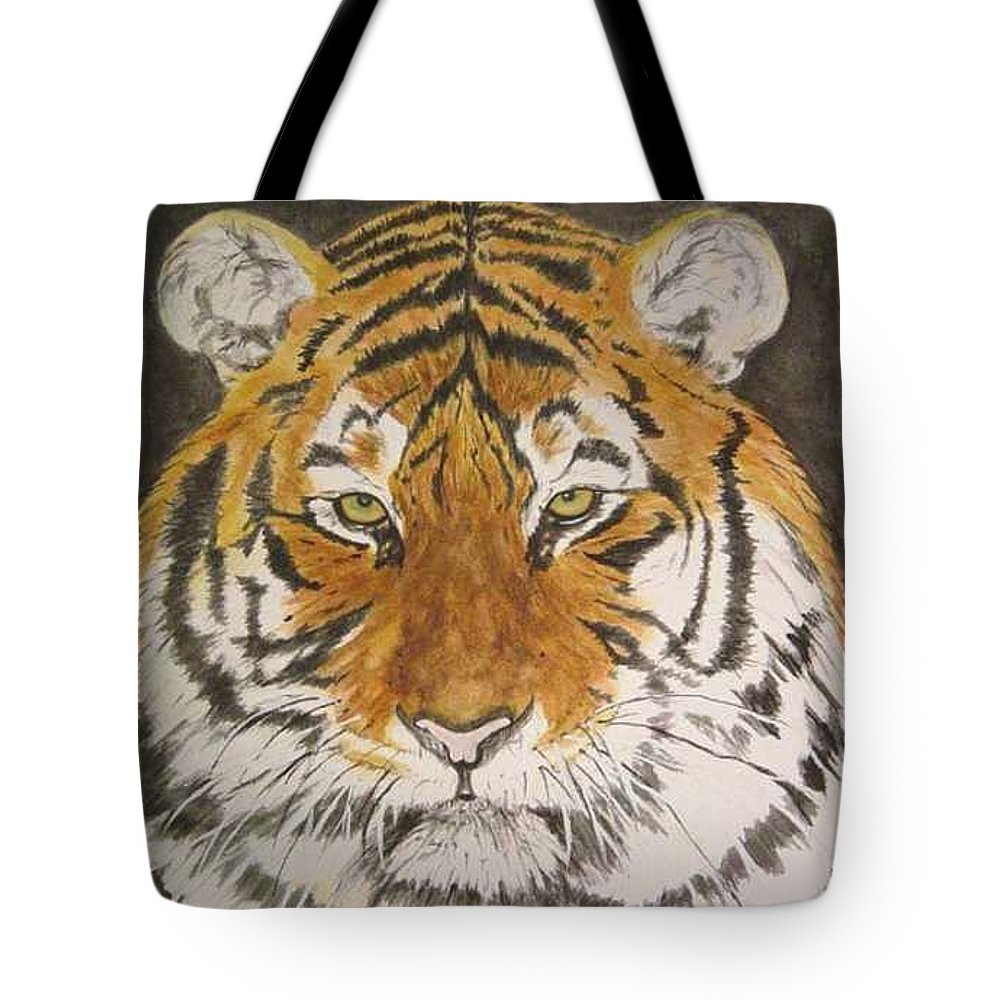 Siberian Tiger Tote Bag featuring the painting Siberian Tiger by Regan J Smith