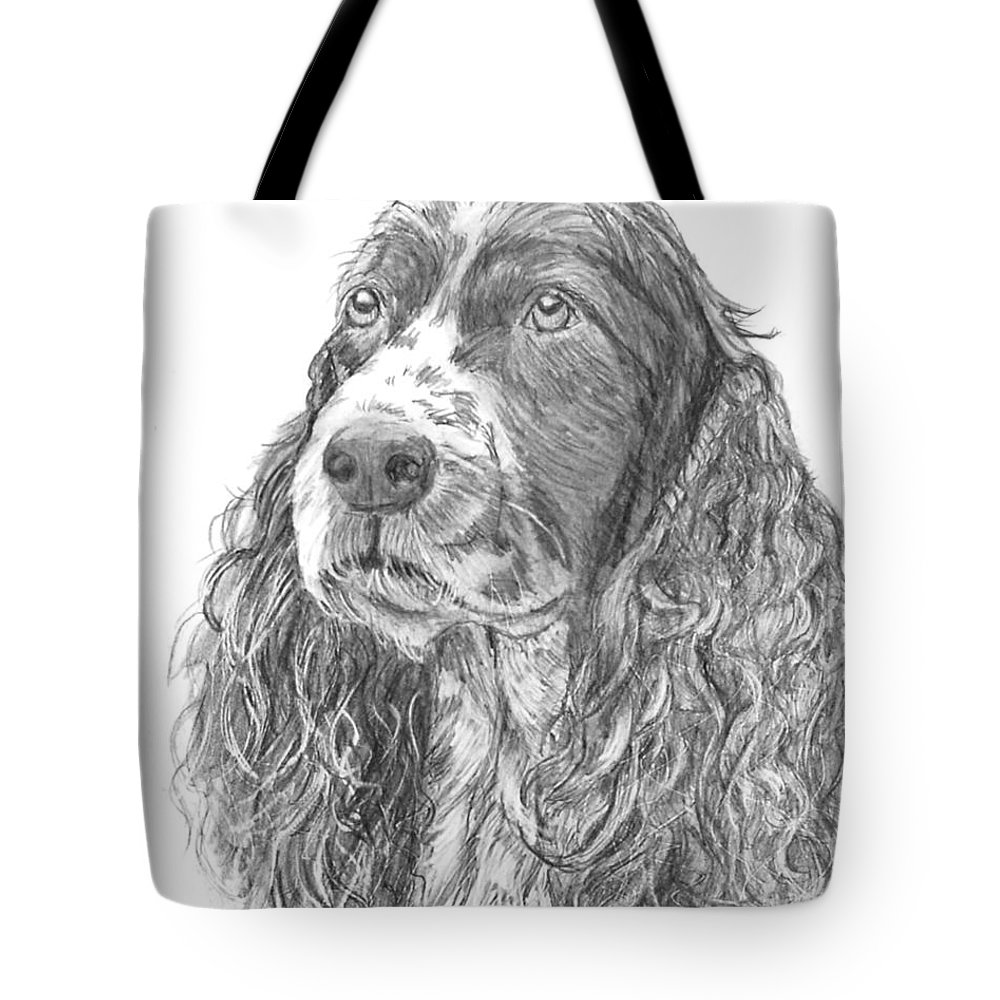 Dog Tote Bag featuring the drawing Sibley by Quwatha Valentine