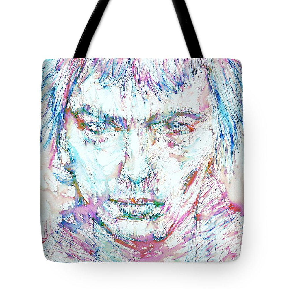 Sid Tote Bag featuring the painting Sid Vicious - Colored Pens Portrait by Fabrizio Cassetta