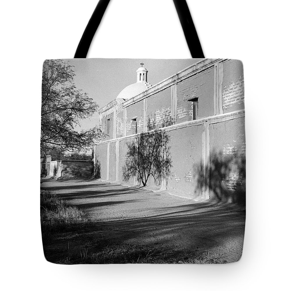 Side View Mission San Jose De Tumacacori Tumacacori Arizona 1979 Tote Bag featuring the photograph Side View Mission San Jose De Tumacacori Tumacacori Arizona 1979 by David Lee Guss