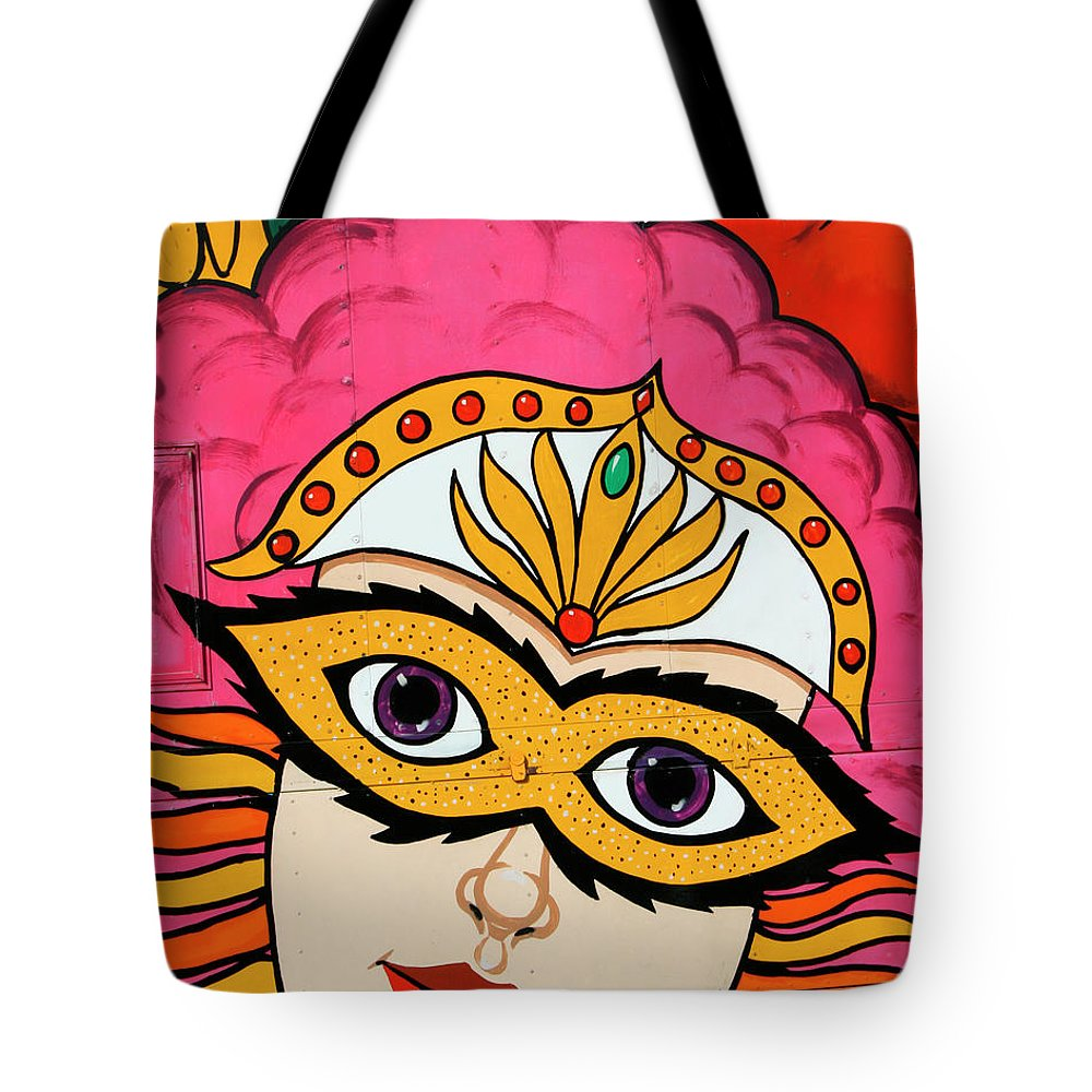 Tamale Festival Tote Bag featuring the photograph Carnival Mask Palm Springs by William Dey