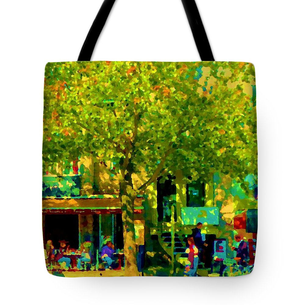 Montreal Tote Bag featuring the painting Sidewalk Cafe Rue St Denis Dappled Sunlight Shade Trees Joys Of Montreal City Scene Carole Spandau by Carole Spandau