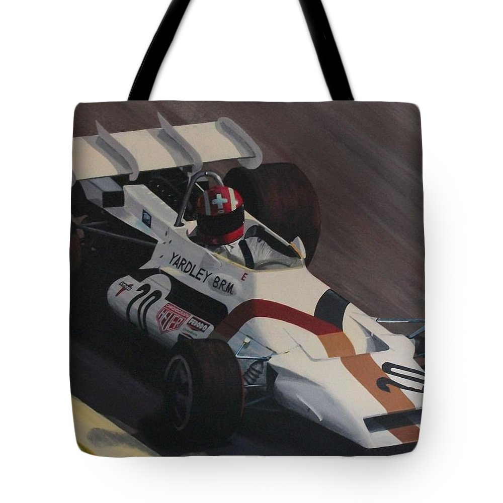 Car Tote Bag featuring the painting Siffert At Speed by Kieran Roberts
