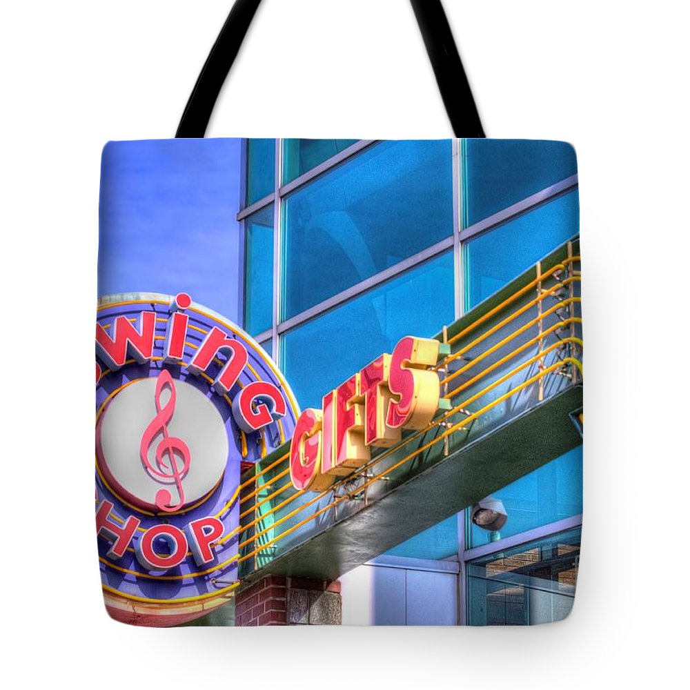Sign Tote Bag featuring the photograph Sign - Swing Shop - Jazz District by Liane Wright