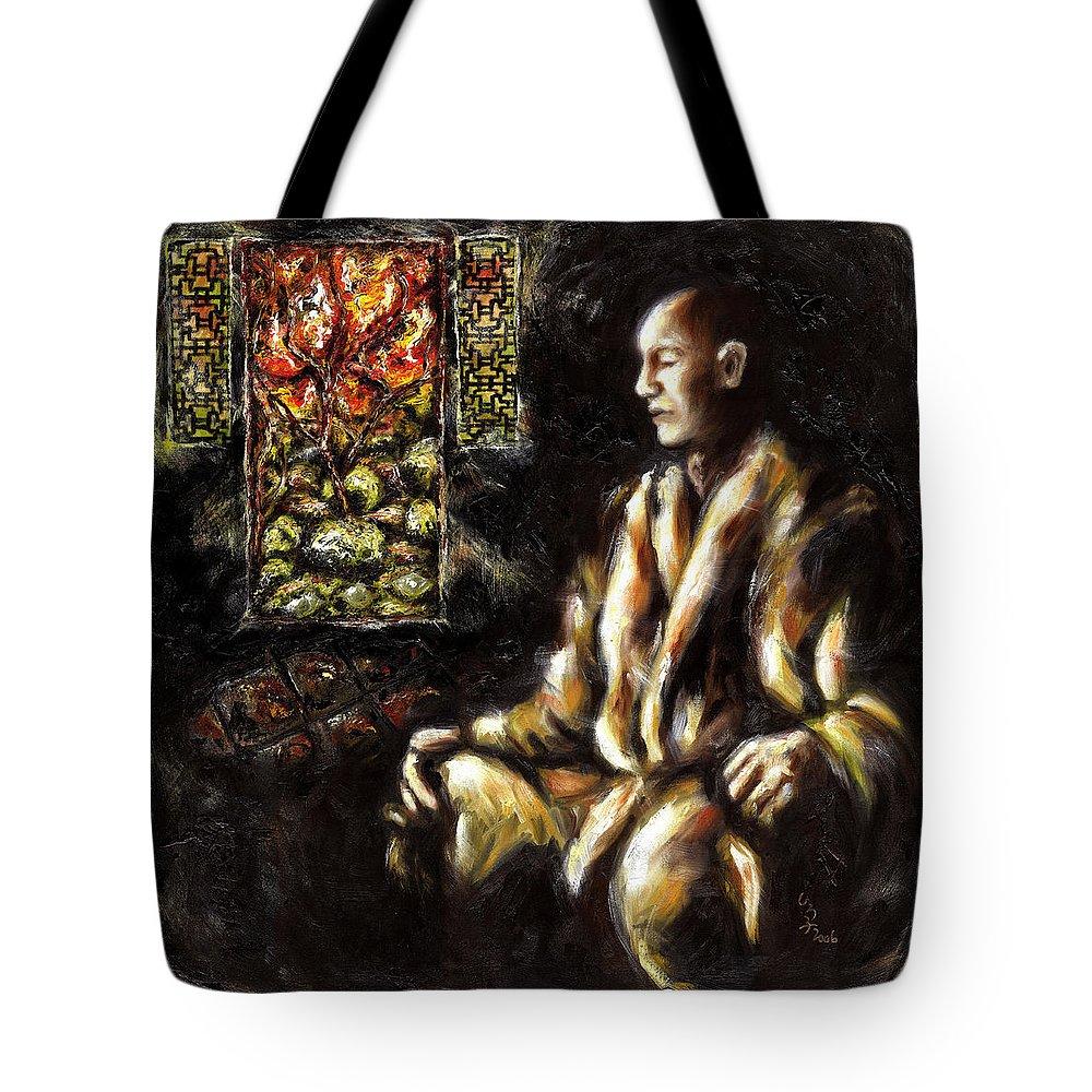 Zen Tote Bag featuring the painting Silence by Hiroko Sakai