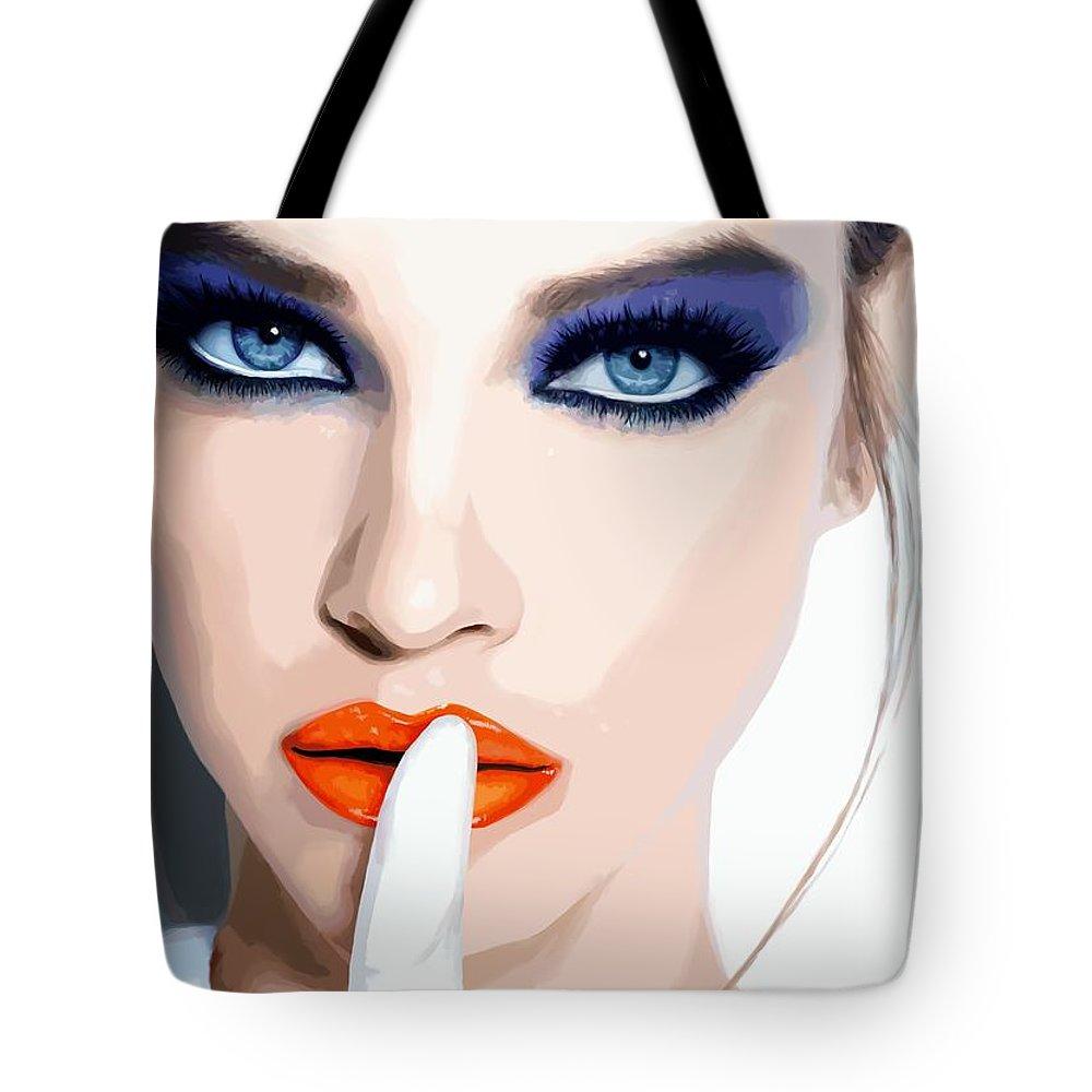 Pretty Girl Tote Bag featuring the digital art Silence - Pretty Faces Series by Gabriel T Toro