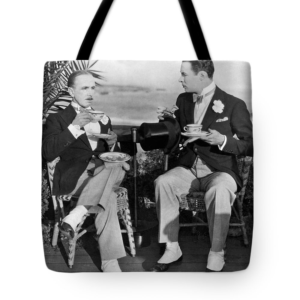 1920s Tote Bag featuring the photograph Silent Film Tea Time by Underwood Archives