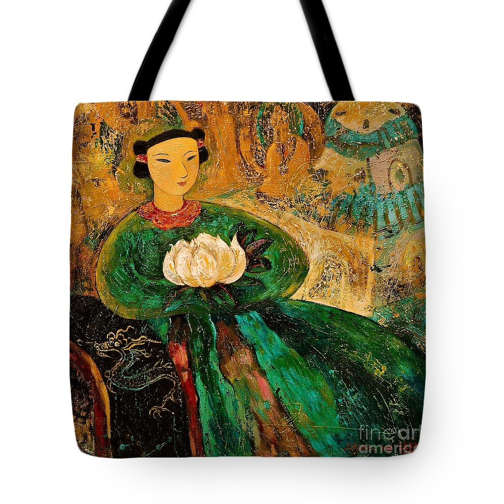 Portrait Tote Bag featuring the painting Silent Lotus by Shijun Munns