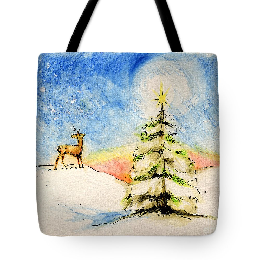 Christmas Tote Bag featuring the painting Silent Night by Angel Ciesniarska