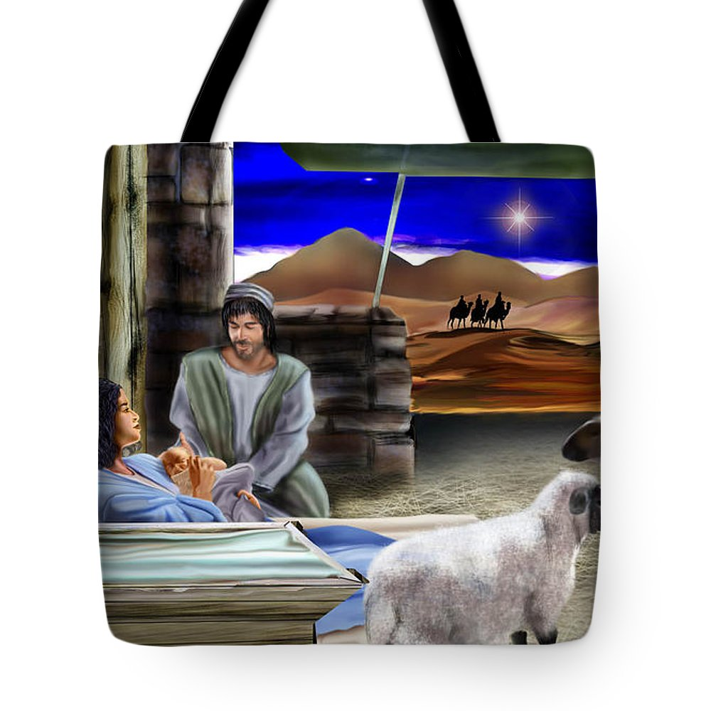 Nativity Scene Tote Bag featuring the painting Silent Night by Reggie Duffie