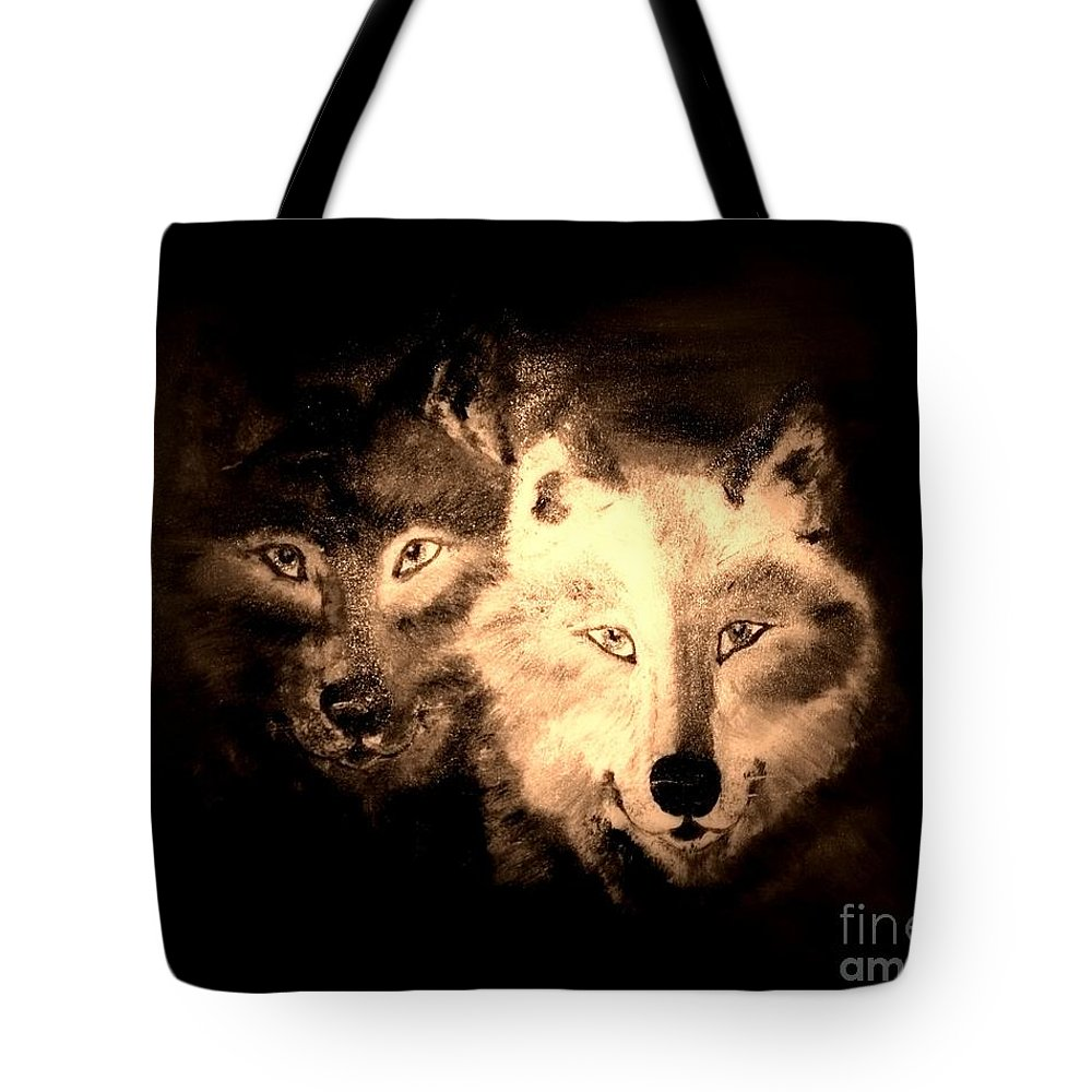 Wolves Tote Bag featuring the painting Silent Seekers by Denise Tomasura