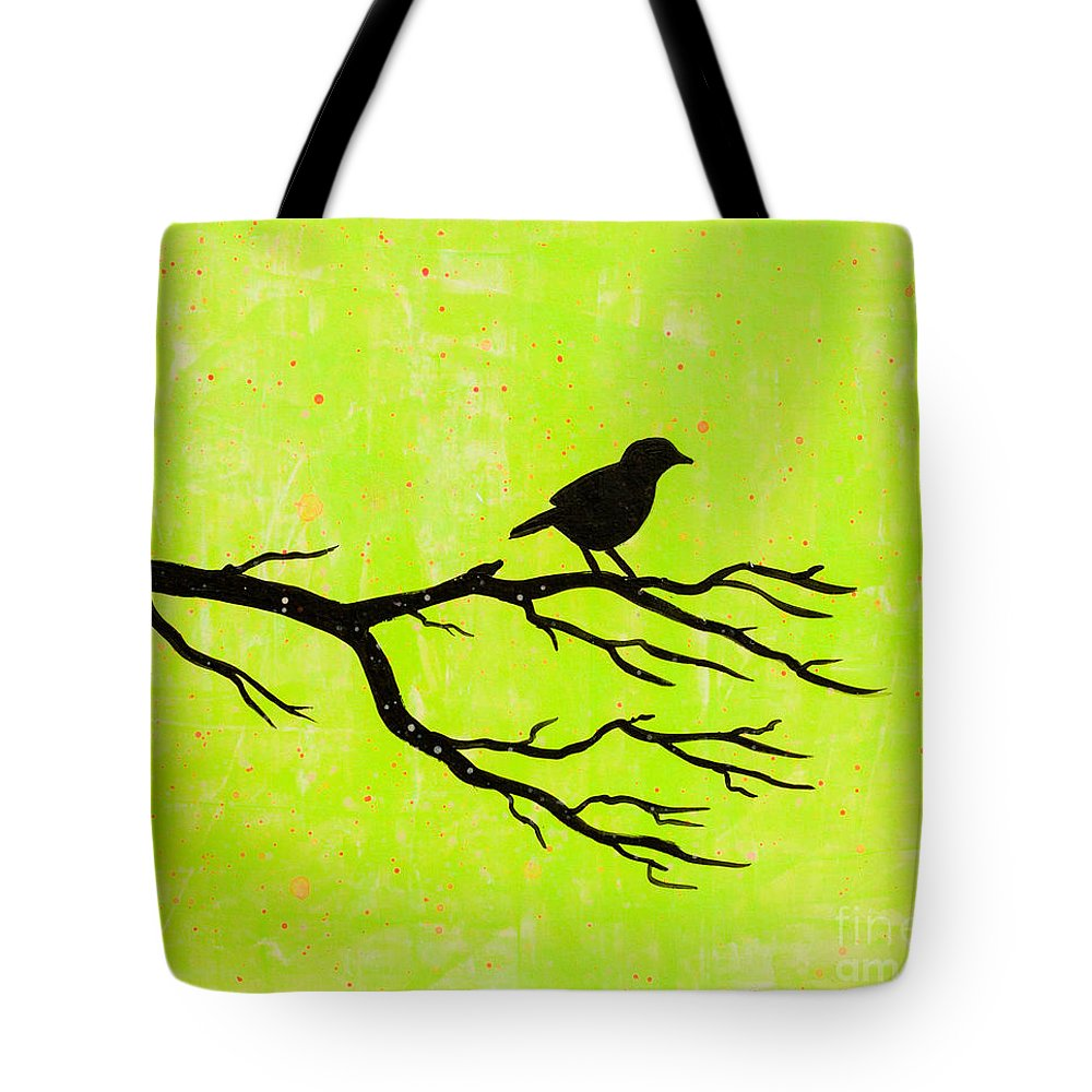 Tote Bag featuring the painting Silhouette Green by Stefanie Forck