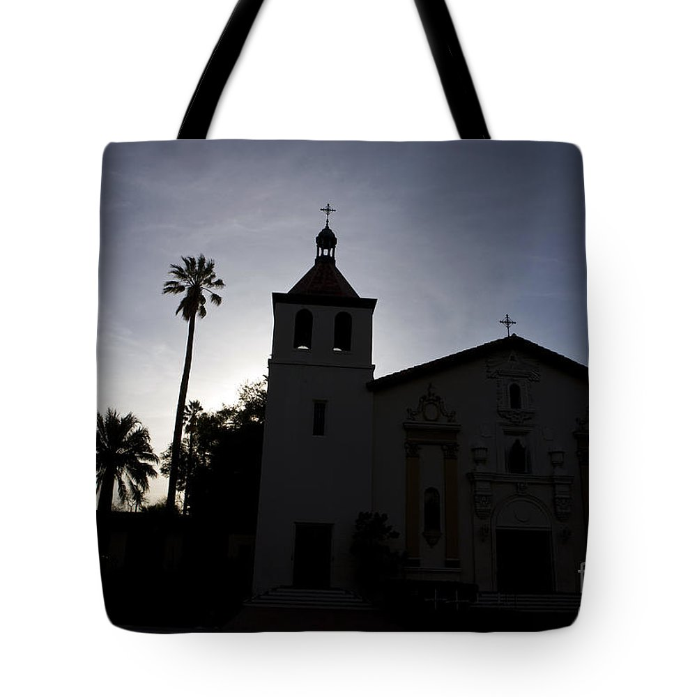Travel Tote Bag featuring the photograph Silhouette Of Mission Santa Clara by Jason O Watson