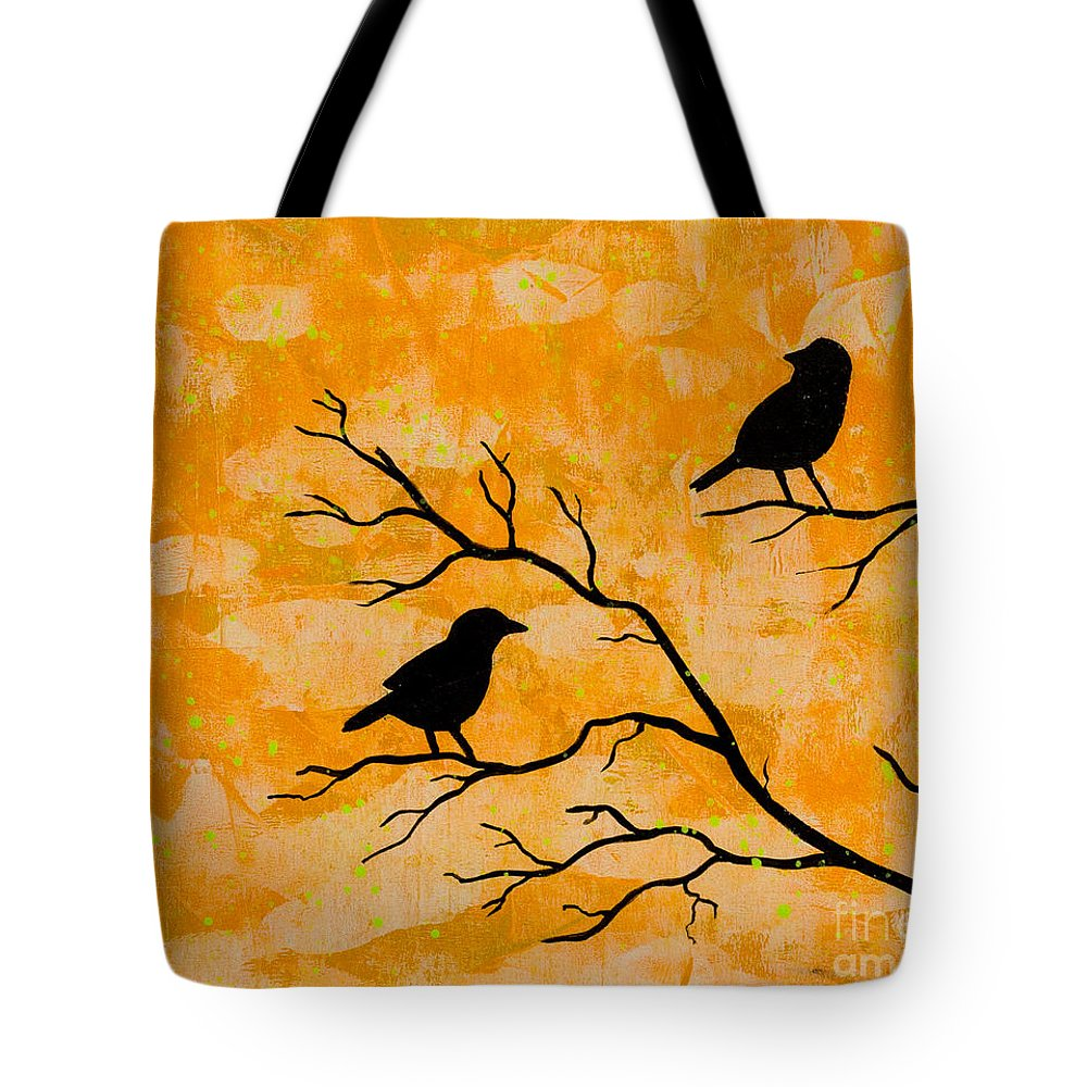 Tote Bag featuring the painting Silhouette Orange by Stefanie Forck