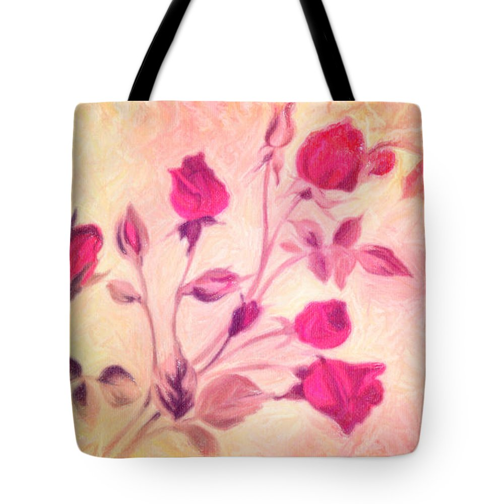 Silky Red Roses Poster Tote Bag featuring the painting Silky Red Roses by MotionAge Designs