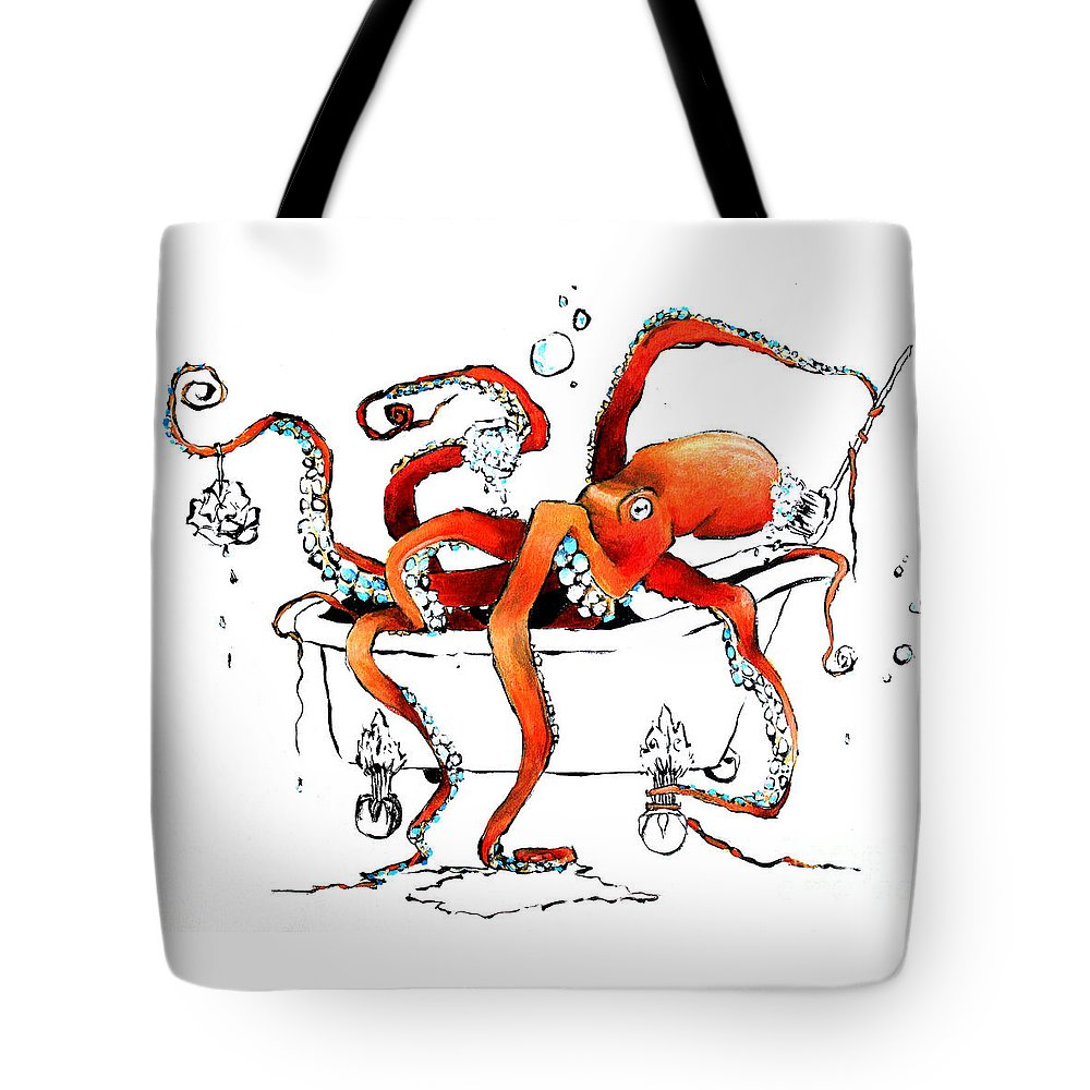 Octopus Tote Bag featuring the painting Silly Octopus Taking A Bath by Arleana Holtzmann