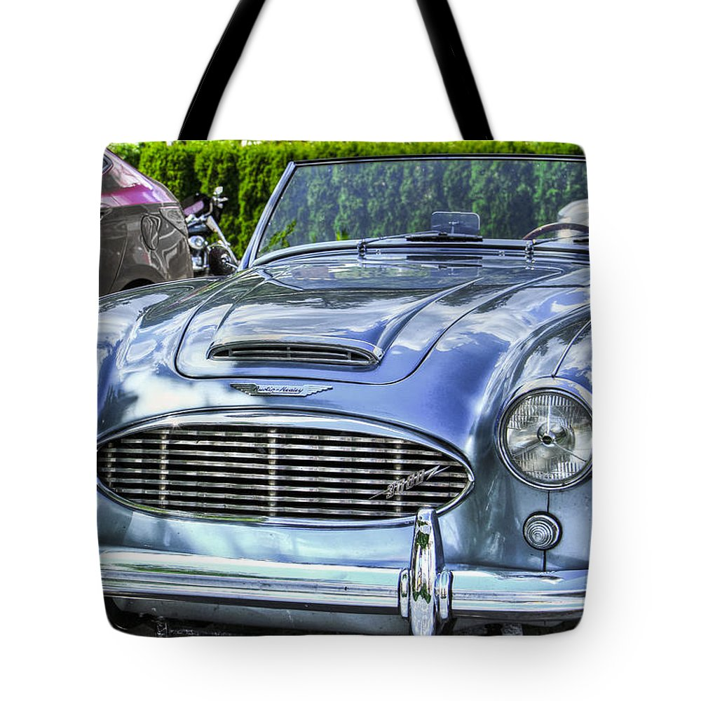 Headlamp Tote Bag featuring the photograph Silver 1963 Austin Healey Roadster 3000 by Eti Reid