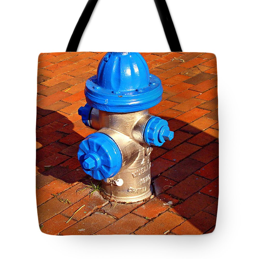 Fine Art Tote Bag featuring the photograph Silver And Blue Hydrant by Rodney Lee Williams