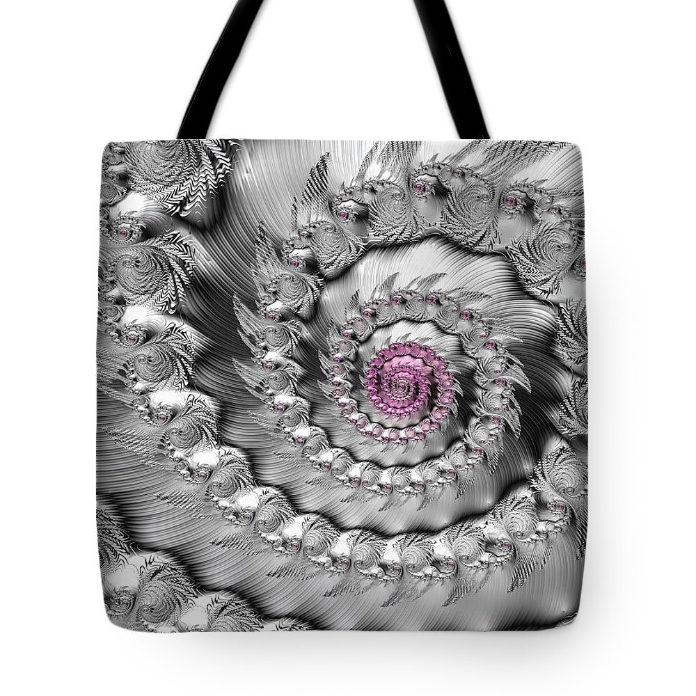 Spiral Tote Bag featuring the digital art Silver And Pink Spiral Glossy Silber Metal by Matthias Hauser