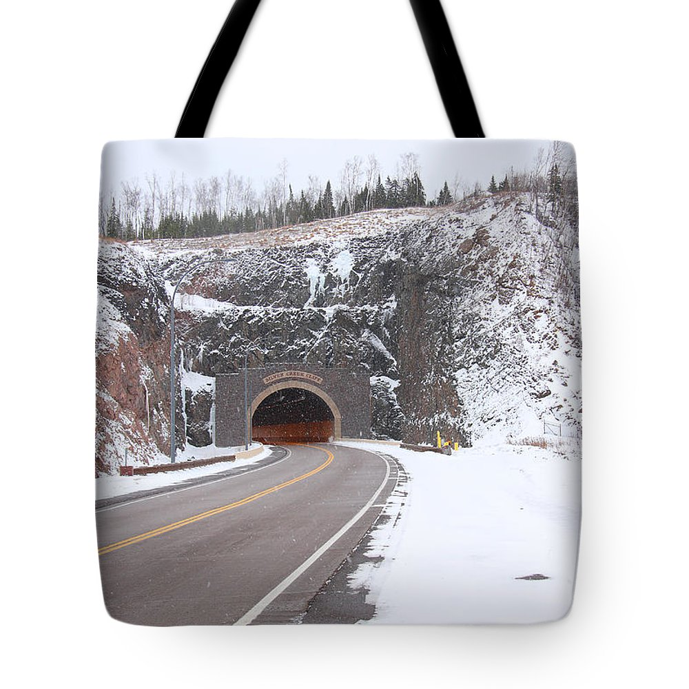 Road Tote Bag featuring the photograph Silver Creek Cliff Tunnel Winter 1 by John Brueske