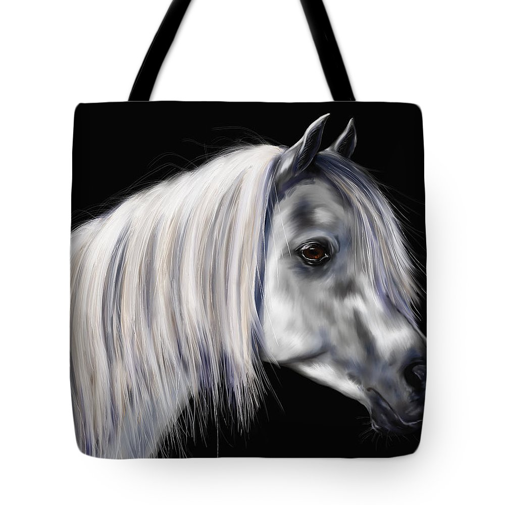 Arab Tote Bag featuring the painting Grey Arabian Mare Painting by Michelle Wrighton