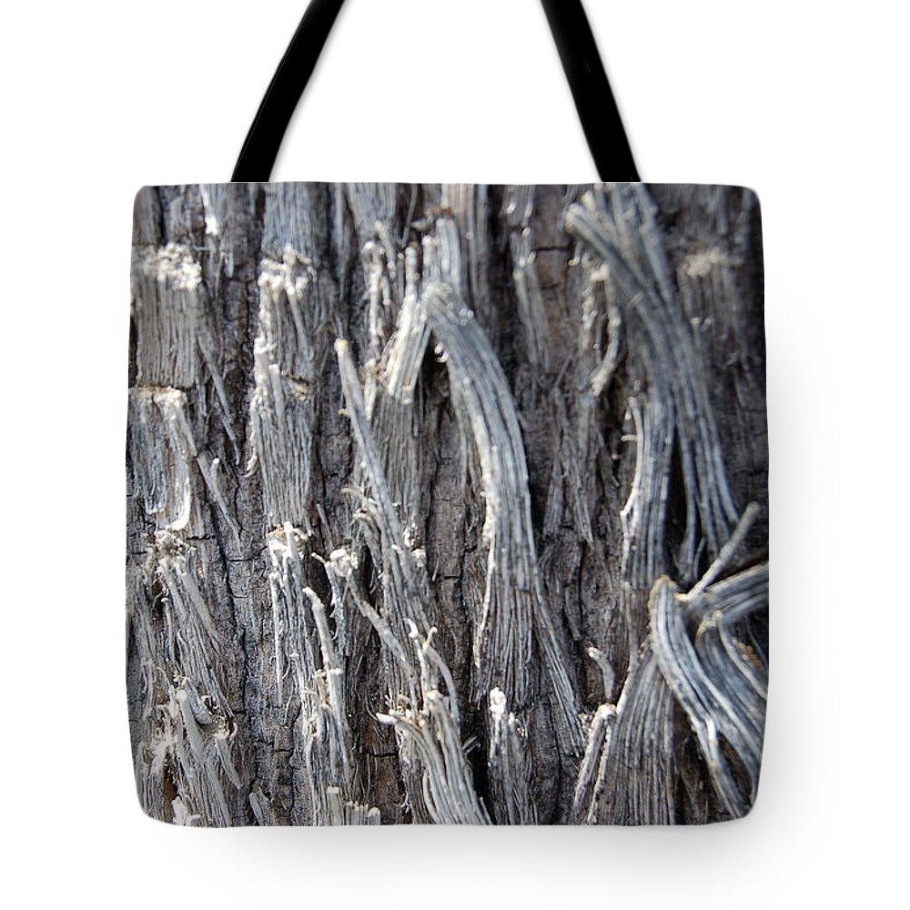 Silver Wire Heavy Strands Broken Ends Abstract Decorative Tree Bark Nature Tote Bag featuring the photograph Silver Heavy Metal by Linda Brody