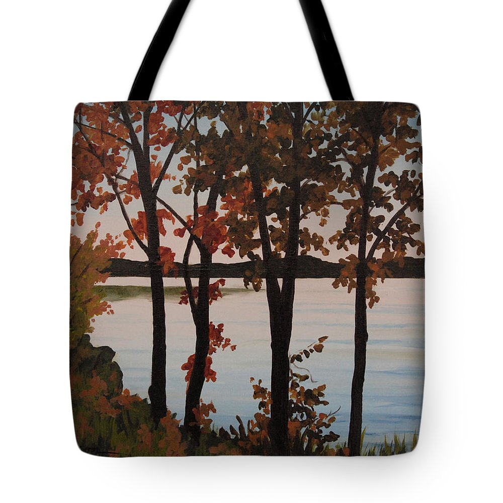 Lake Tote Bag featuring the painting Silver Lake Through Autumn Trees by Heidi E Nelson