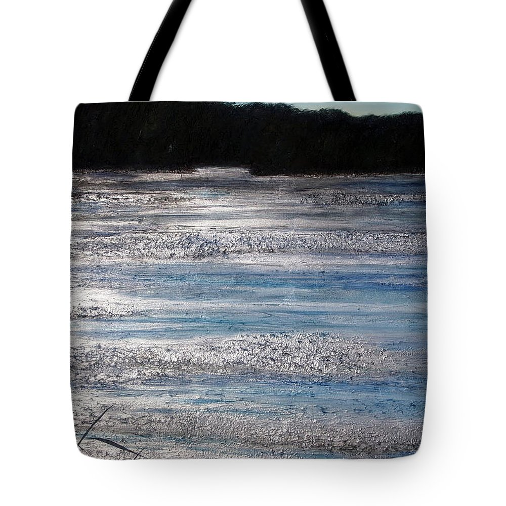 Marsh Tote Bag featuring the painting Silver Marsh by Judy Merrell