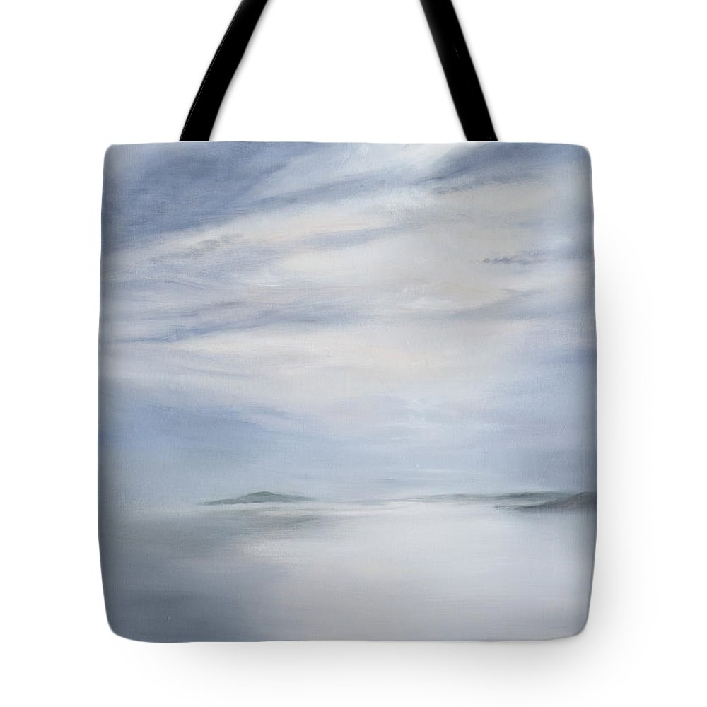 Seascape Tote Bag featuring the painting Silver Sea by Kathryn Dalziel