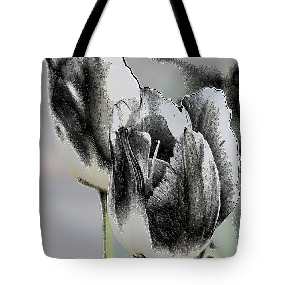 Silver Tulips Tote Bag featuring the digital art Silver Tulips by Maria Urso
