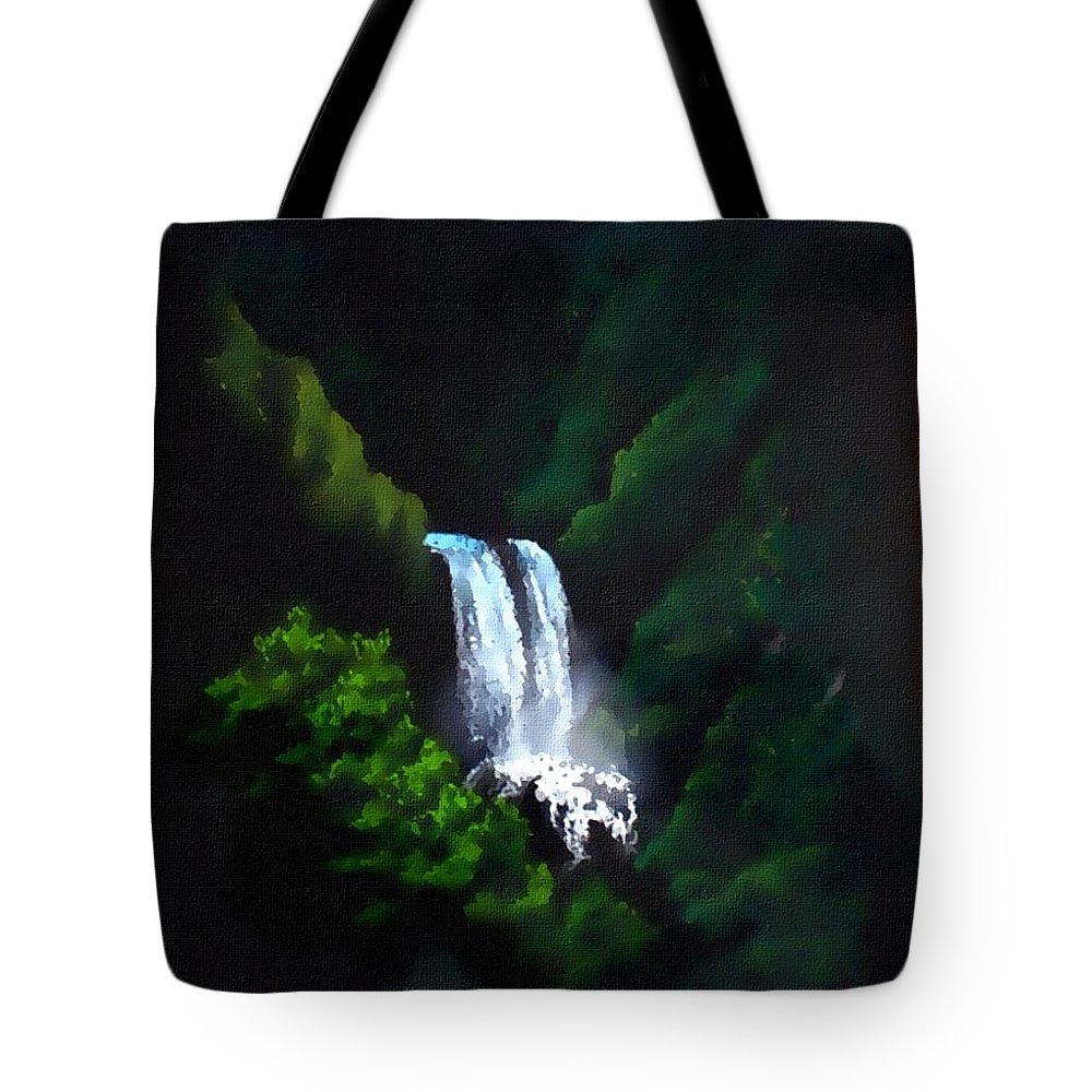 Waterfall Tote Bag featuring the mixed media Silver Waterfall by Linda Seifried