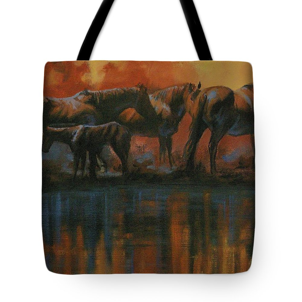 Horses Tote Bag featuring the painting Simmerdim by Mia DeLode