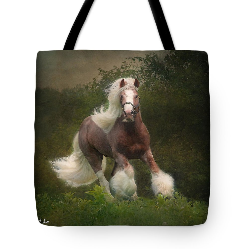 Horses Tote Bag featuring the photograph Simon and the storm by Fran J Scott