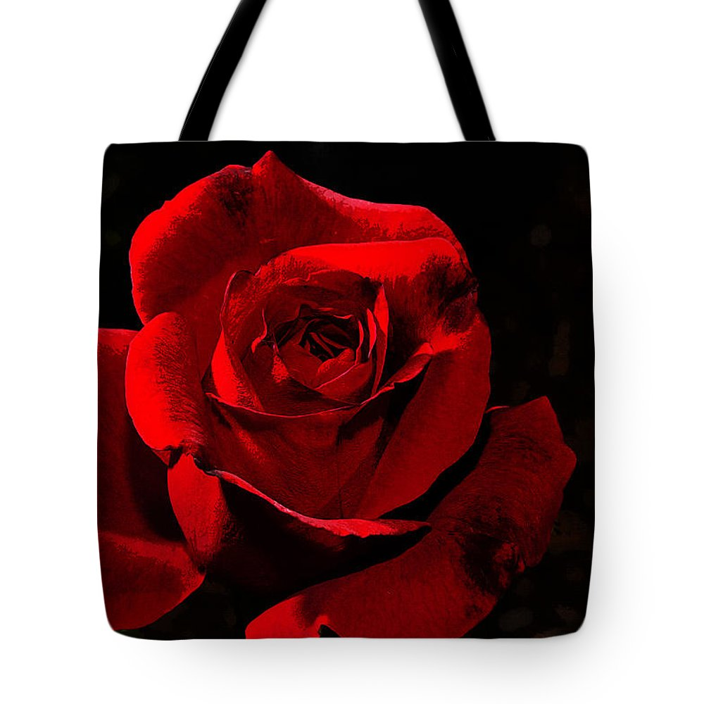 Rose Tote Bag featuring the photograph Simply Red Rose by Phyllis Denton
