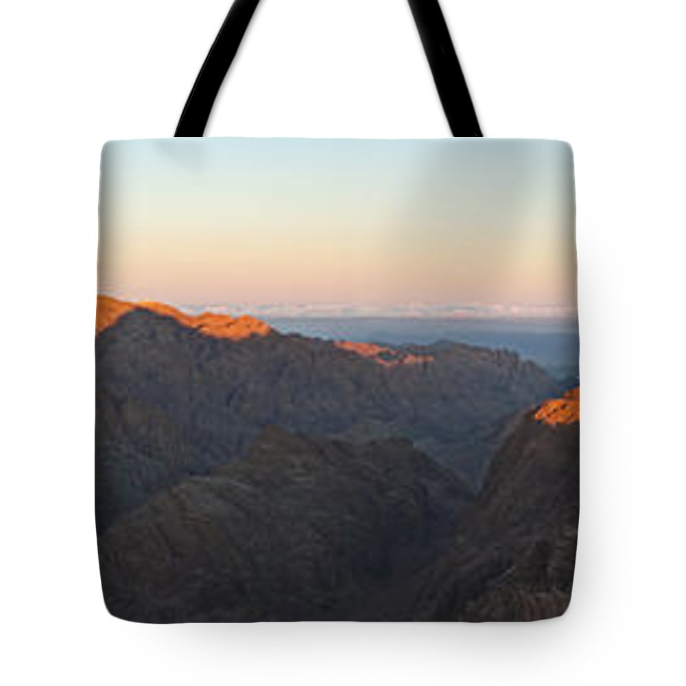 Sinai Tote Bag featuring the pyrography Sinai View From St. Catherine Montain On Sunrise by Julis Simo