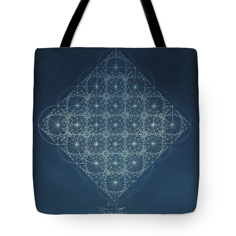 Fractal Tote Bag featuring the drawing Sine Cosine and Tangent Waves by Jason Padgett