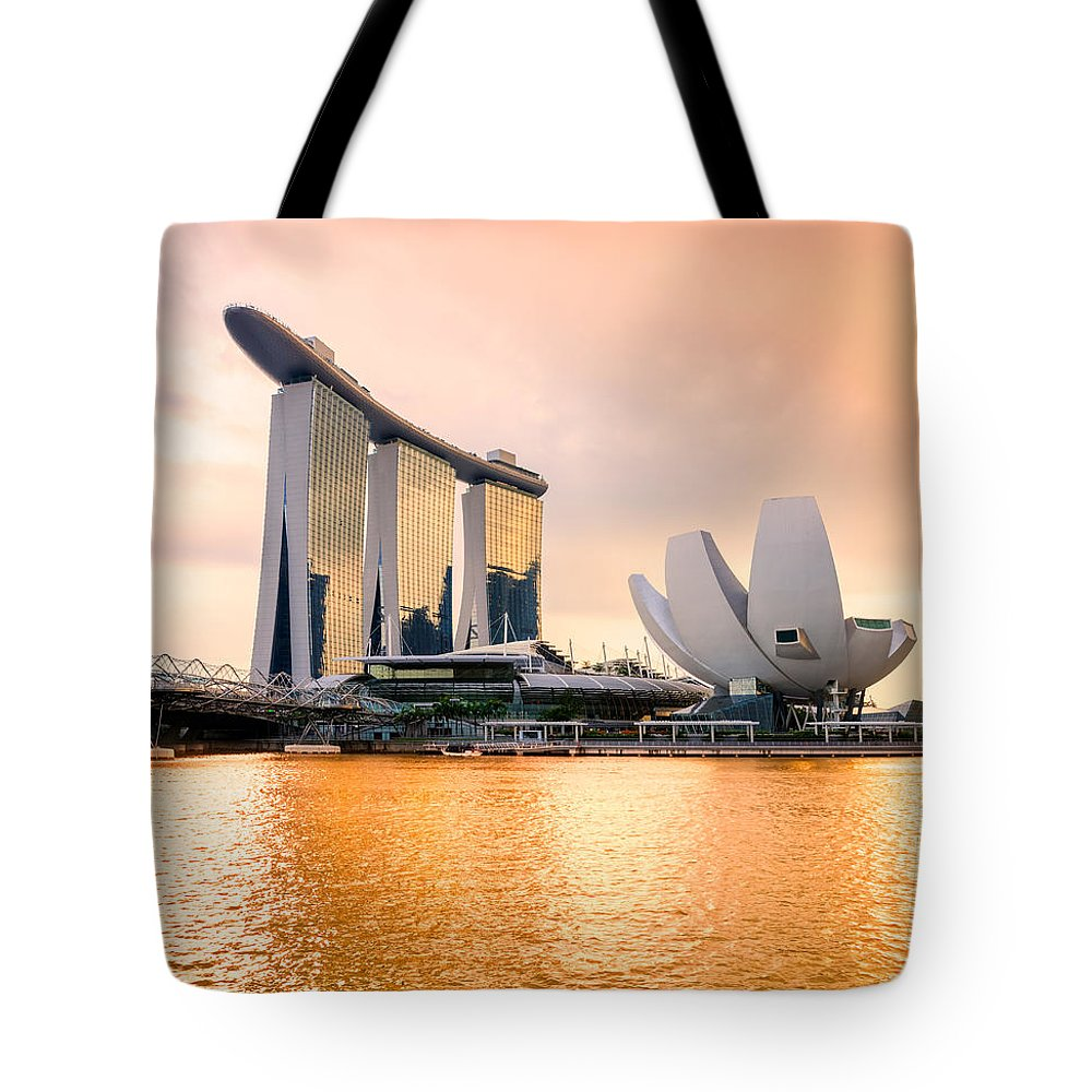 Night Tote Bag featuring the photograph Singapore - Marina Bay Sand by Luciano Mortula
